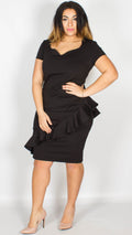 Penelope Diagonal Frill Midi Dress Black