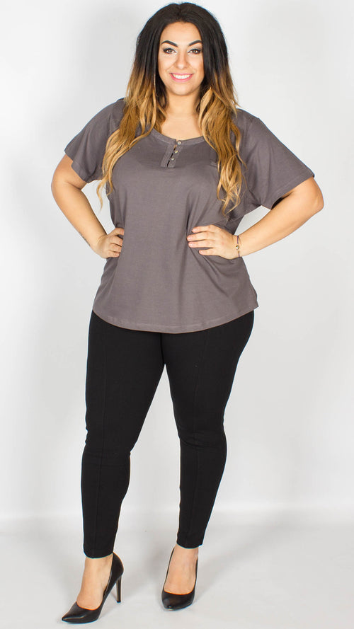 Sophia Lace Trim T-Shirt Grey