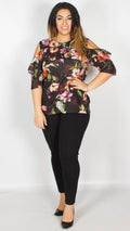 Addison Floral Frill Cold Shoulder Top