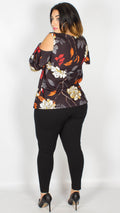 Aria Floral Frill Cold Shoulder Top