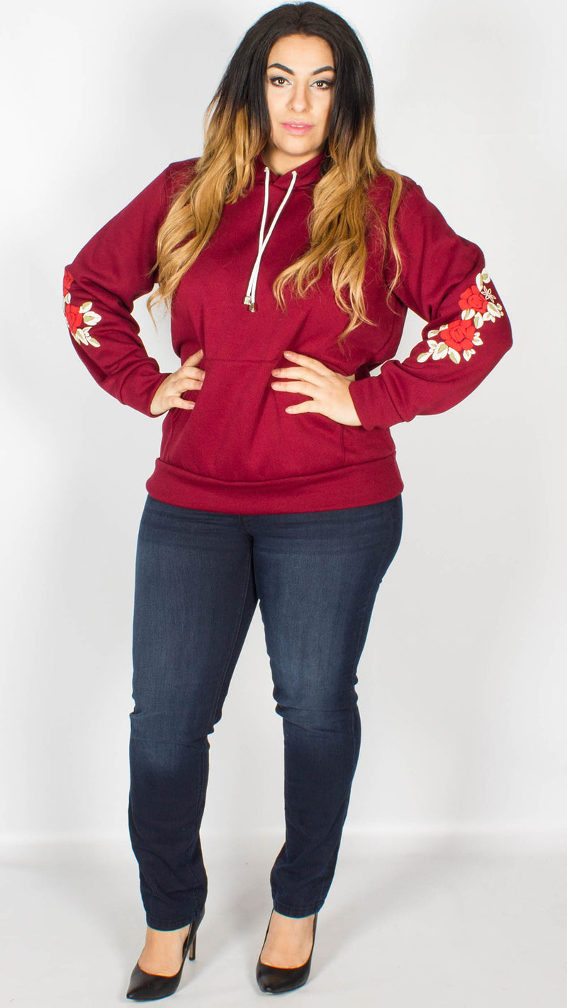 Evelyn Floral Print Sleeve Hoody Wine