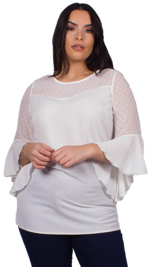 Jade Bubble Blouse with Dobby Sleeves White