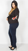 Evelyn Floral Print Sleeve Hoody Black