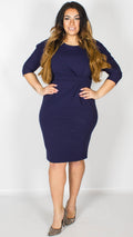 Luna Navy Midi Dress