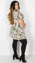 Eleanor Floral Roll Neck Cream Dress