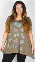 Eva Butterfly Kahki Top