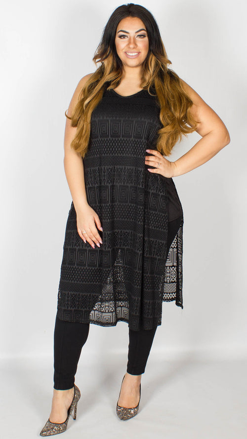 Holly Longline Black Lace Tunic