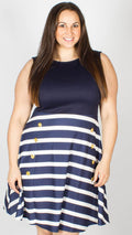Caitlyn Navy Stripe Skater Dress