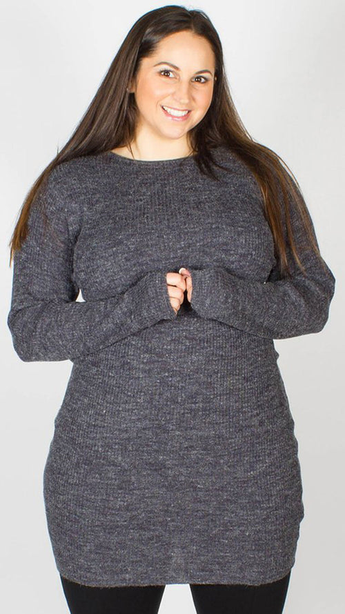 Zaire Navy Long Sleeve Knitted Jumper