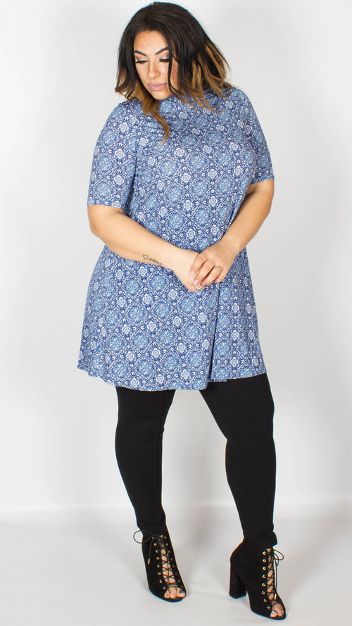 Imogen Blue Print Roll Neck Dress