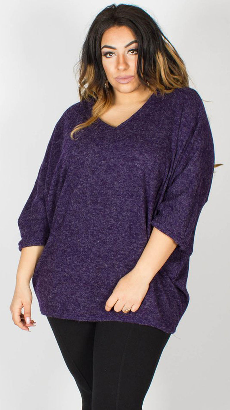Willow V Neck Longline Purple Jumper