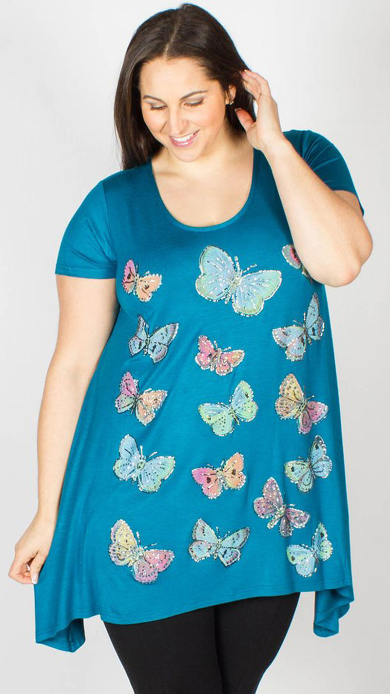 Eva Butterfly Teal Top
