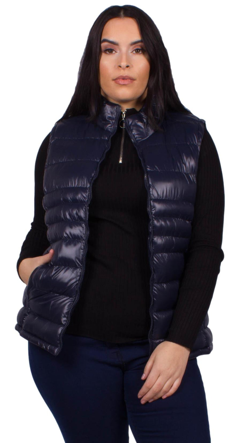 Bianca High Shine Finish Faux Down Filled Gilet
