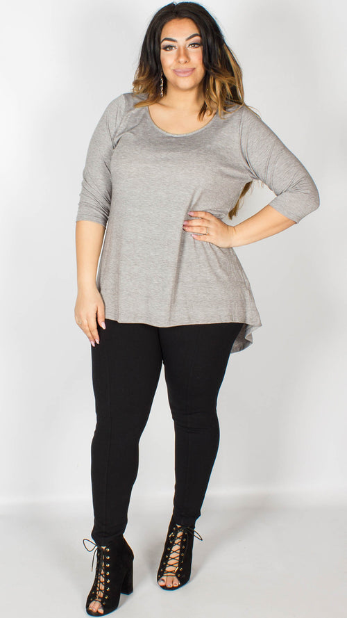 Evie Grey Dip Hem Top