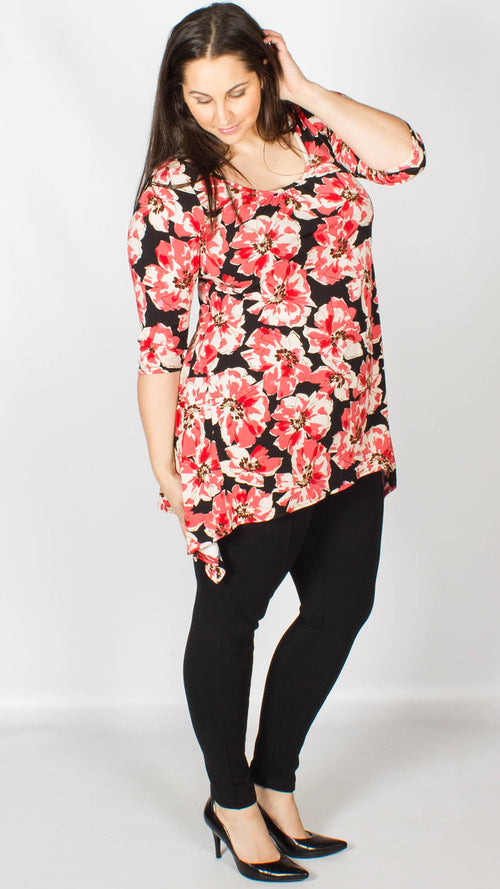 Hannah Red Three Quarter Sleeve Top