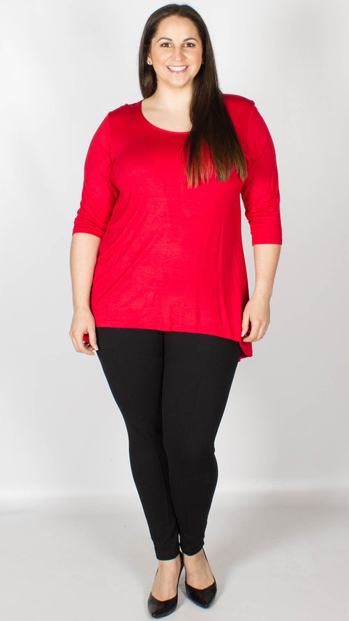Evie Red Dip Hem Top