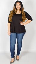 Evie Black Dip Hem Top