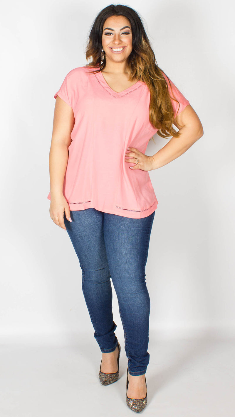 Annabelle V Neck Bright Coral Top