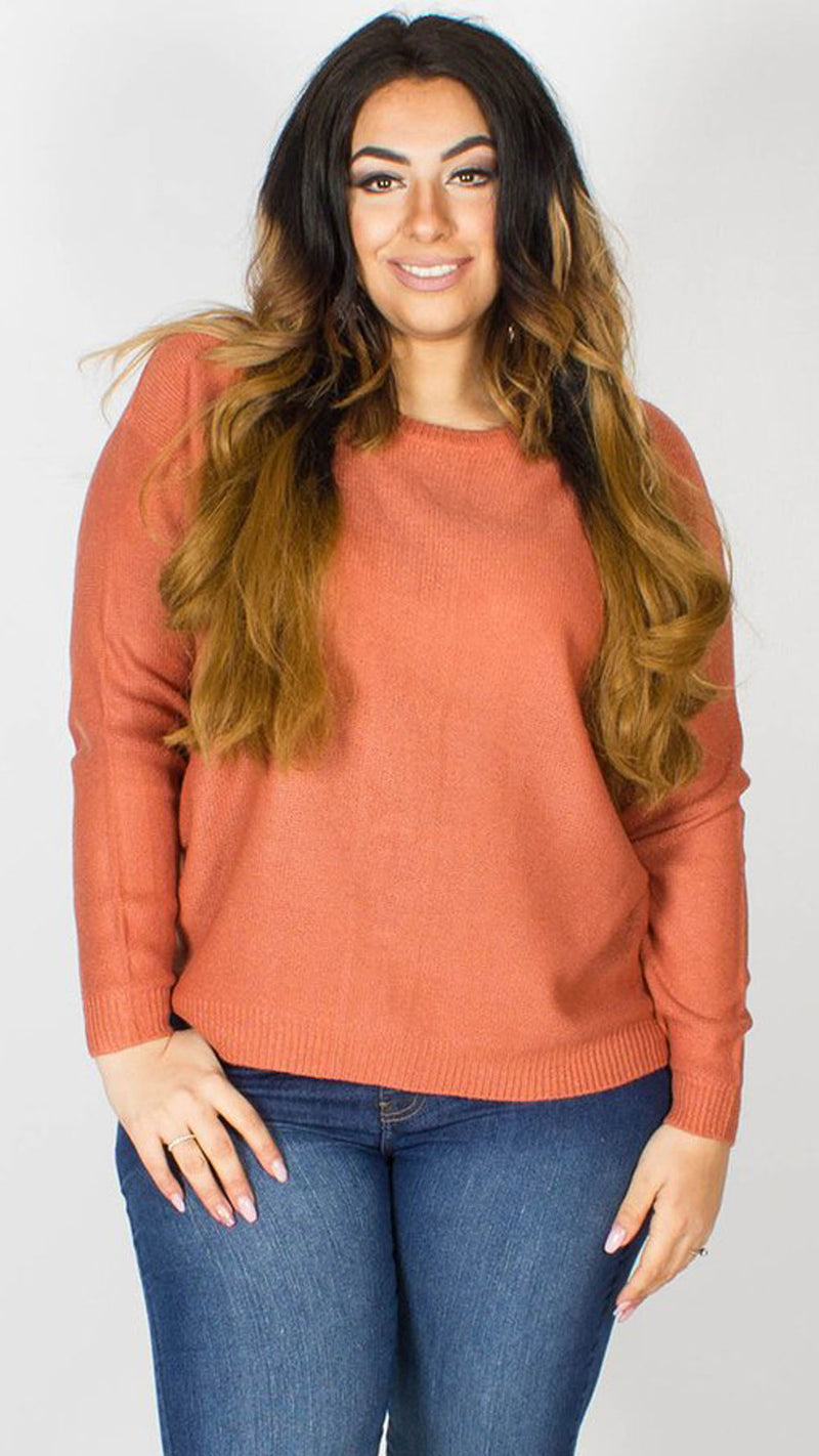 Jennifer Lace Up Back Knitted Jumper Blush