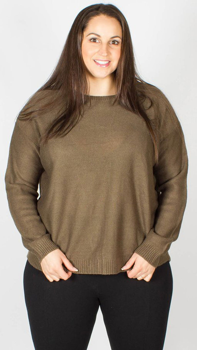 Jennifer Lace Up Back Knitted Jumper Khaki