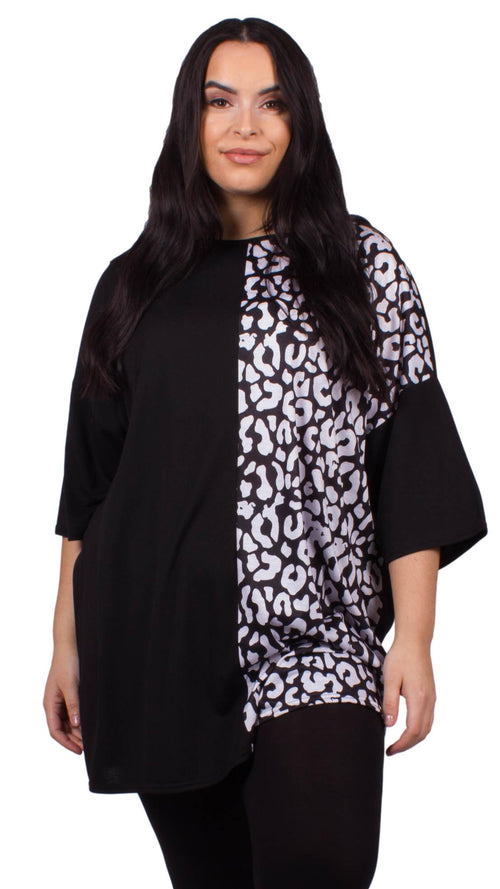 CurveWow Oversized Scoop Neck Tunic Top Monochrome