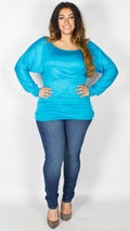 Asia Turquoise Off Shoulder Long Sleeve Batwing Top