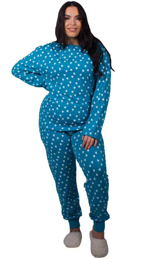 CurveWow Pyjama Lounge Set - Teal & White Hearts