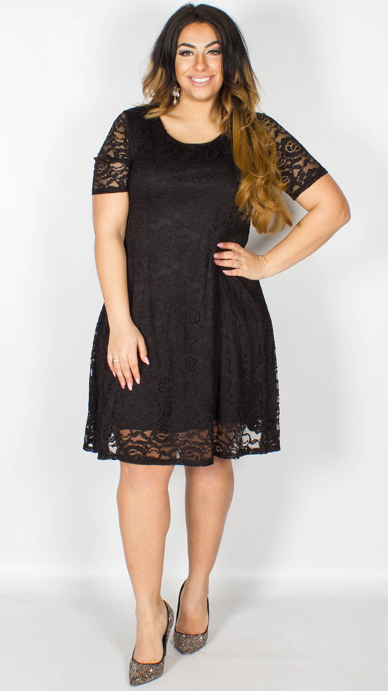 Orla Black Short Sleeve Flapper Lace Dress
