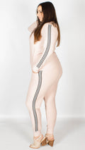 Sophie Nude Side Striped Lounge Suit