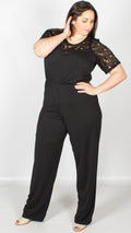 Black Lace Short Sleeved Lola Jumpsuit