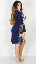 Camilla Flower Contrast Bell Split Sleeve Dress