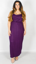 Curve Balloon Maxi Racer Back Dress Purple