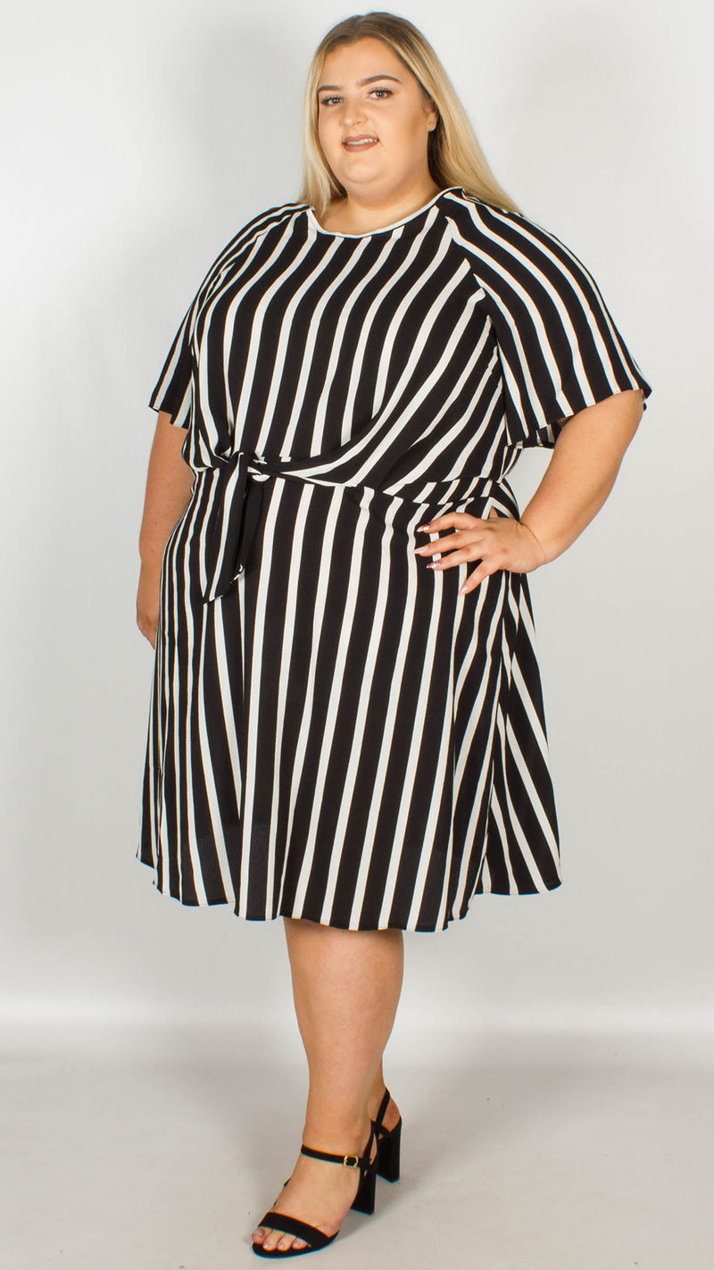 Rita Black & White Stripe Dress With Knot Front