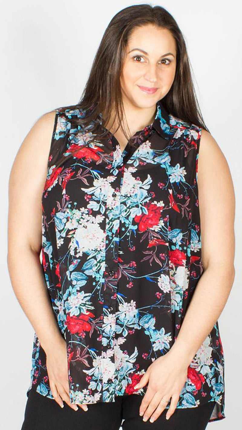 Hattie Floral Print Sleeveless Shirt