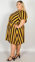 Rita Mustard Stripe Dress With Knot Front