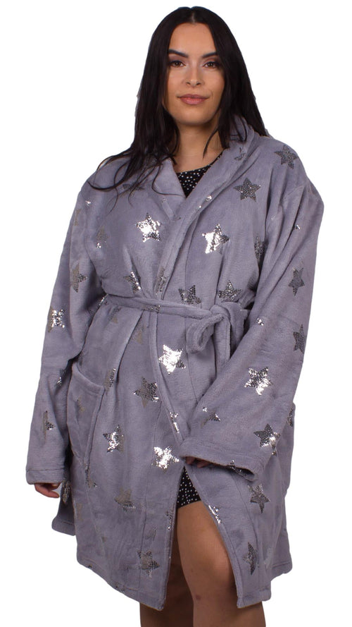 Jacqueline Grey Metallic Star Print Dressing Gown