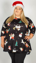 Unicorn Christmas Tree Print Swing Tunic