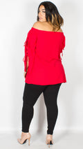 Melissa Red Bardot Top
