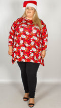 Santa with Hat Print Christmas Swing Tunic