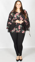 Erin Lace Sleeve V-Neck Top Floral