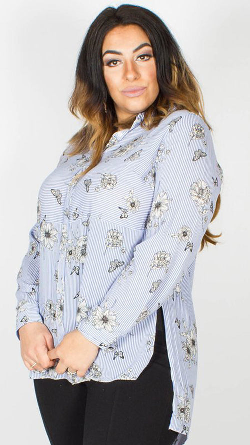 Jodie Floral Stripe Long Sleeve Shirt