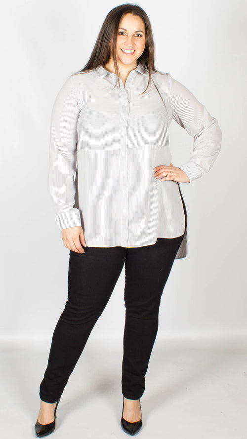 Jodie Grey Pin Stripe Long Sleeve Shirt