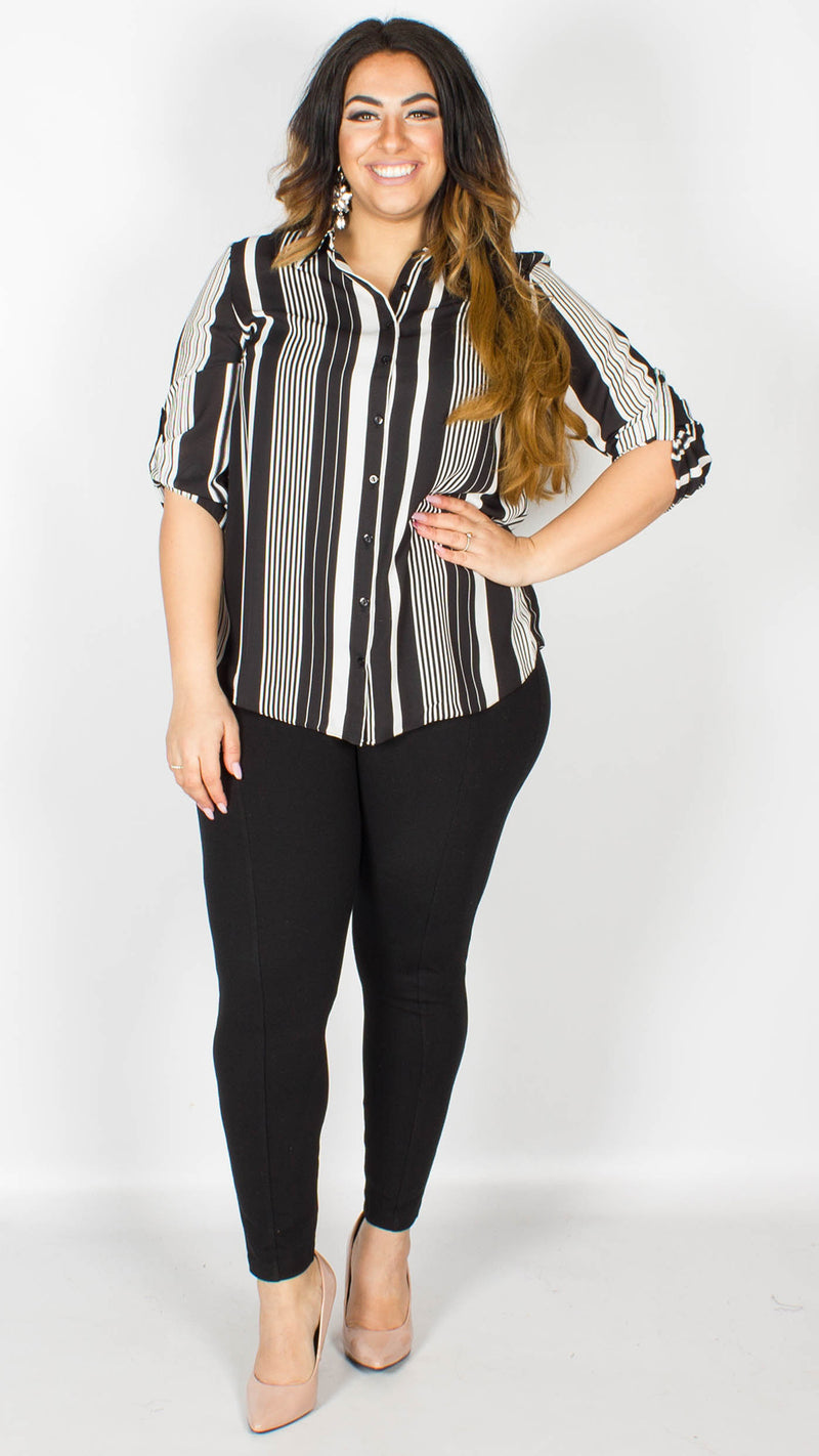 Megan Black & White Stripe Shirt