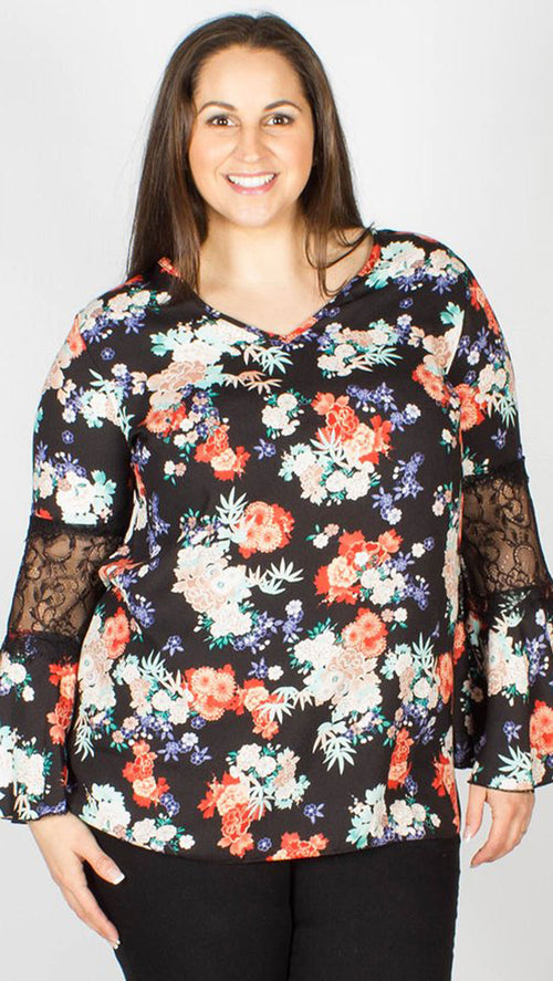 Perri Lace Sleeve Detail Top Floral