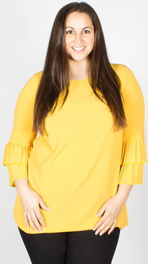 Nadine Pleated Sleeve Top Mustard