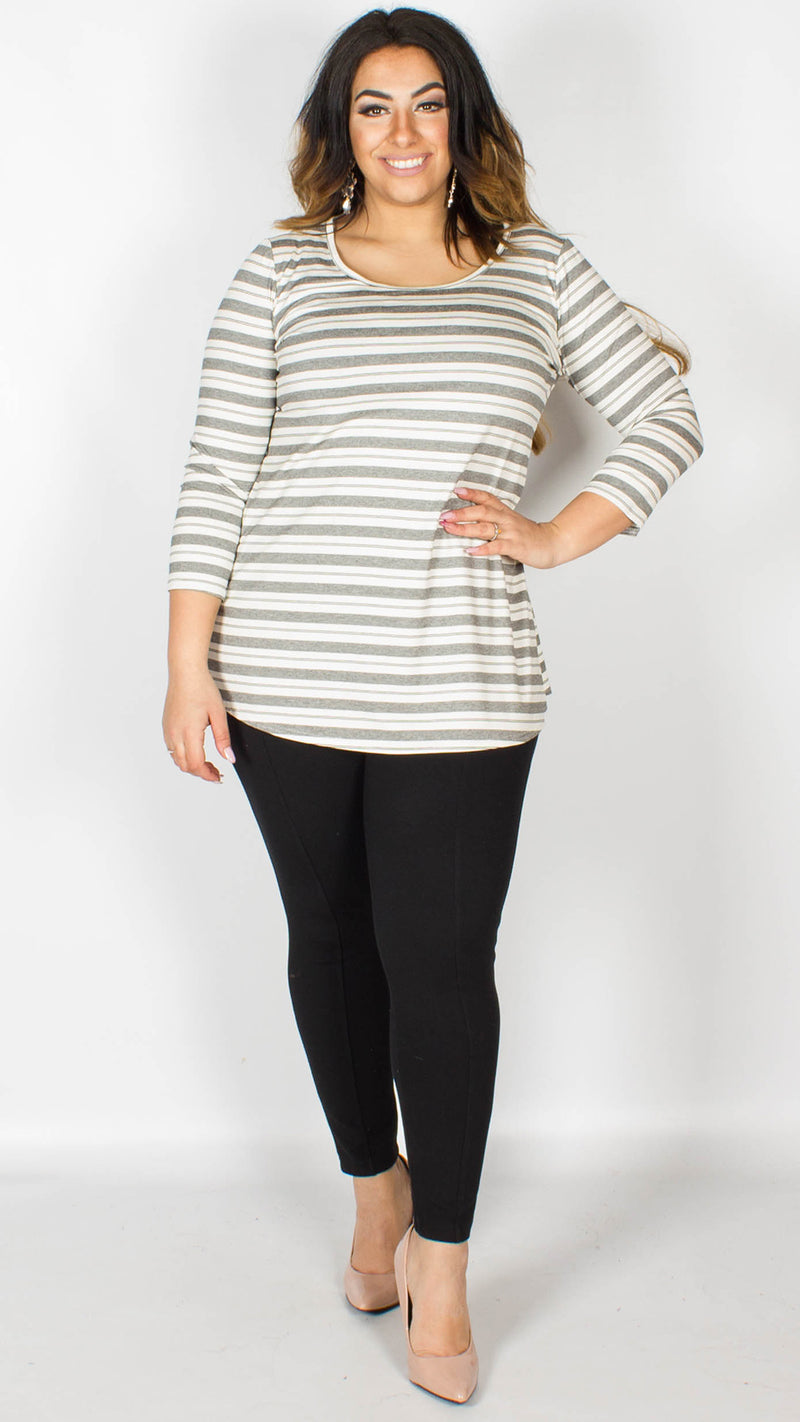 Melanie Striped Top White