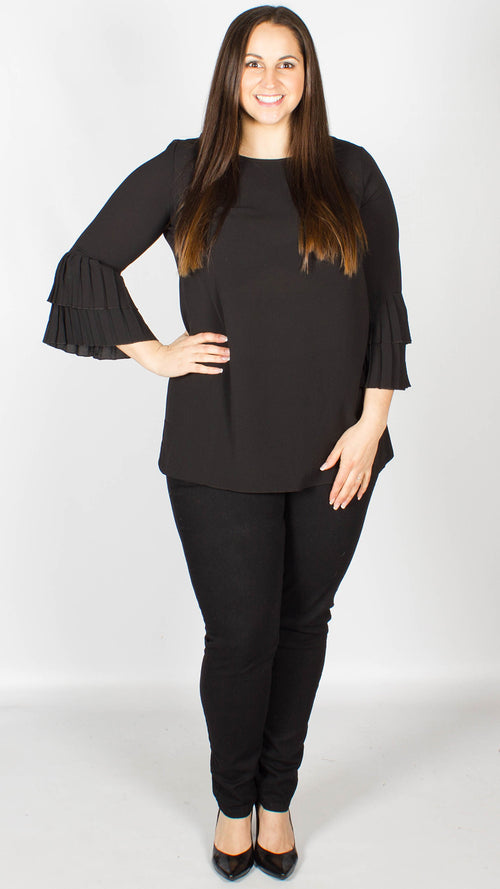Nadine Pleated Sleeve Top Black