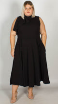 Ursa Premium Ruffle Shoulder Midi Dress Black