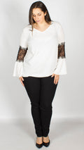 Perri Lace Sleeve Detail Top Ivory