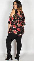 Francis Floral Cold Shoulder Top Black